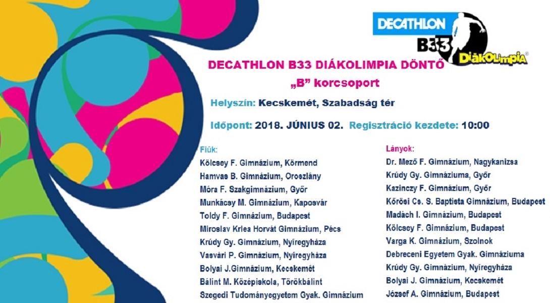 Decathlon B33 Diákolimpia Országos Döntő 2018